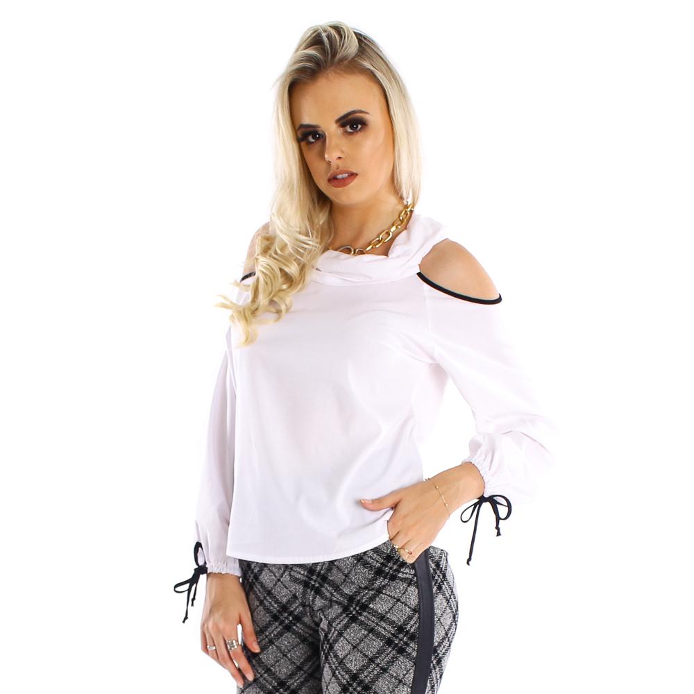 Blusa manga longa com abertura nos ombros