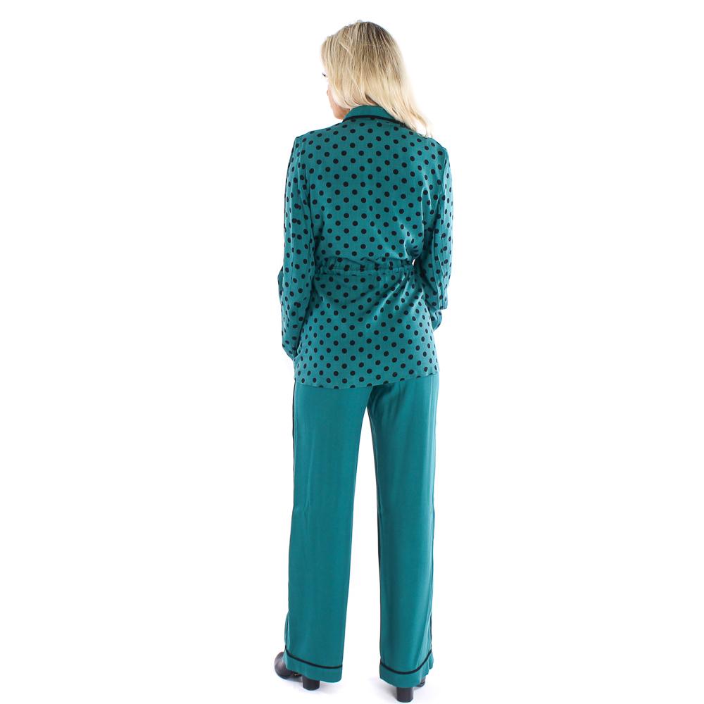 Calça pantalona Lika com detalhes em preto