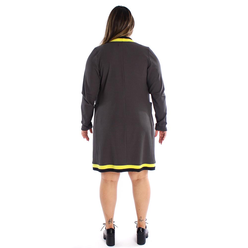 Conjunto Lika cardigan e vestido com listras