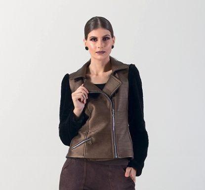 Jaqueta com mangas em pele