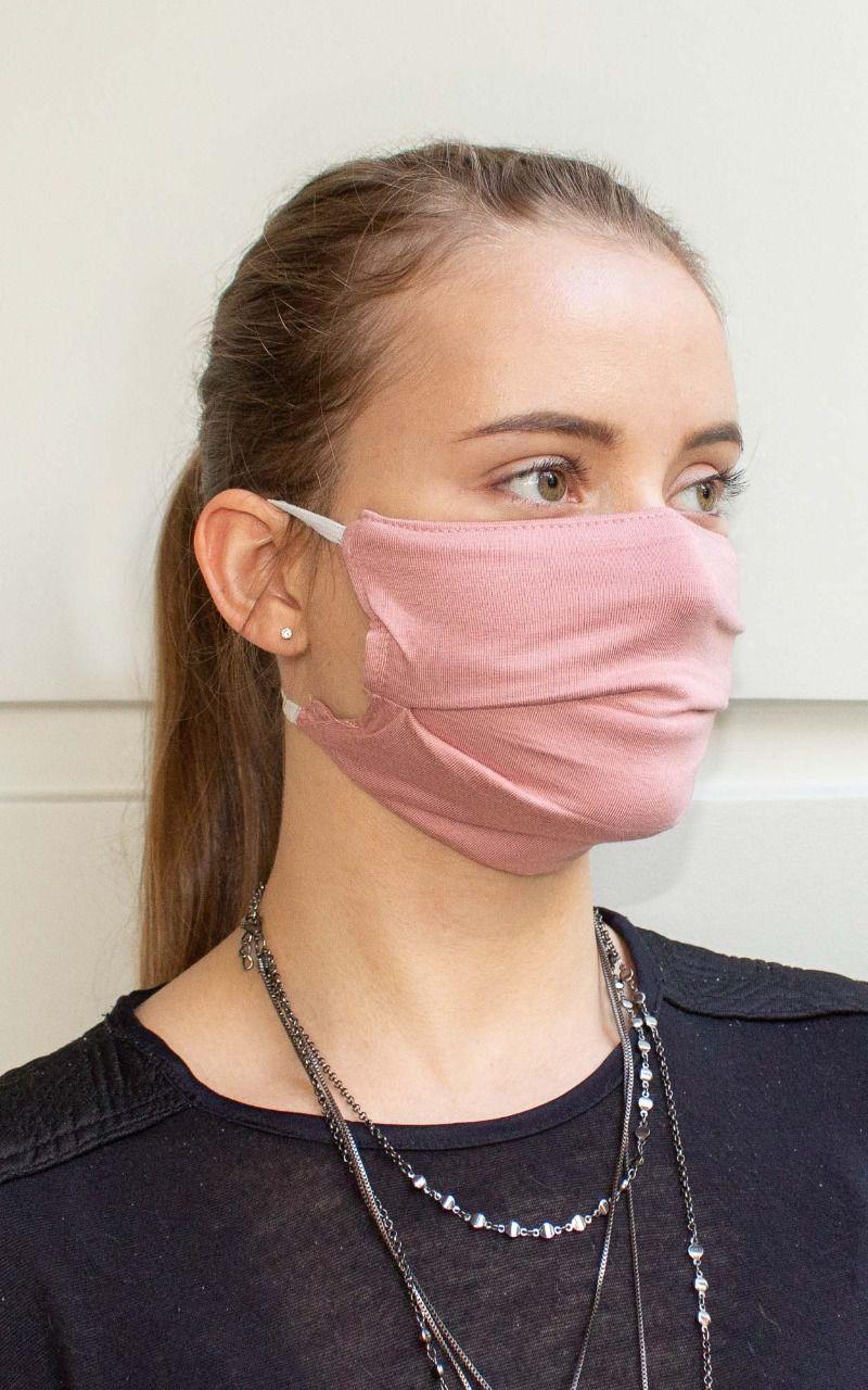 Máscara retangular com prega na cor rosa