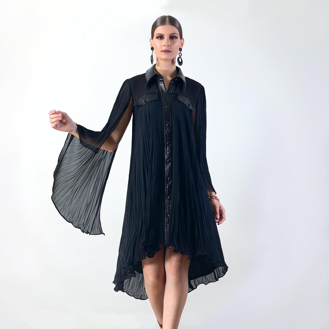 Vestido camisa Lika com detalhes em croco