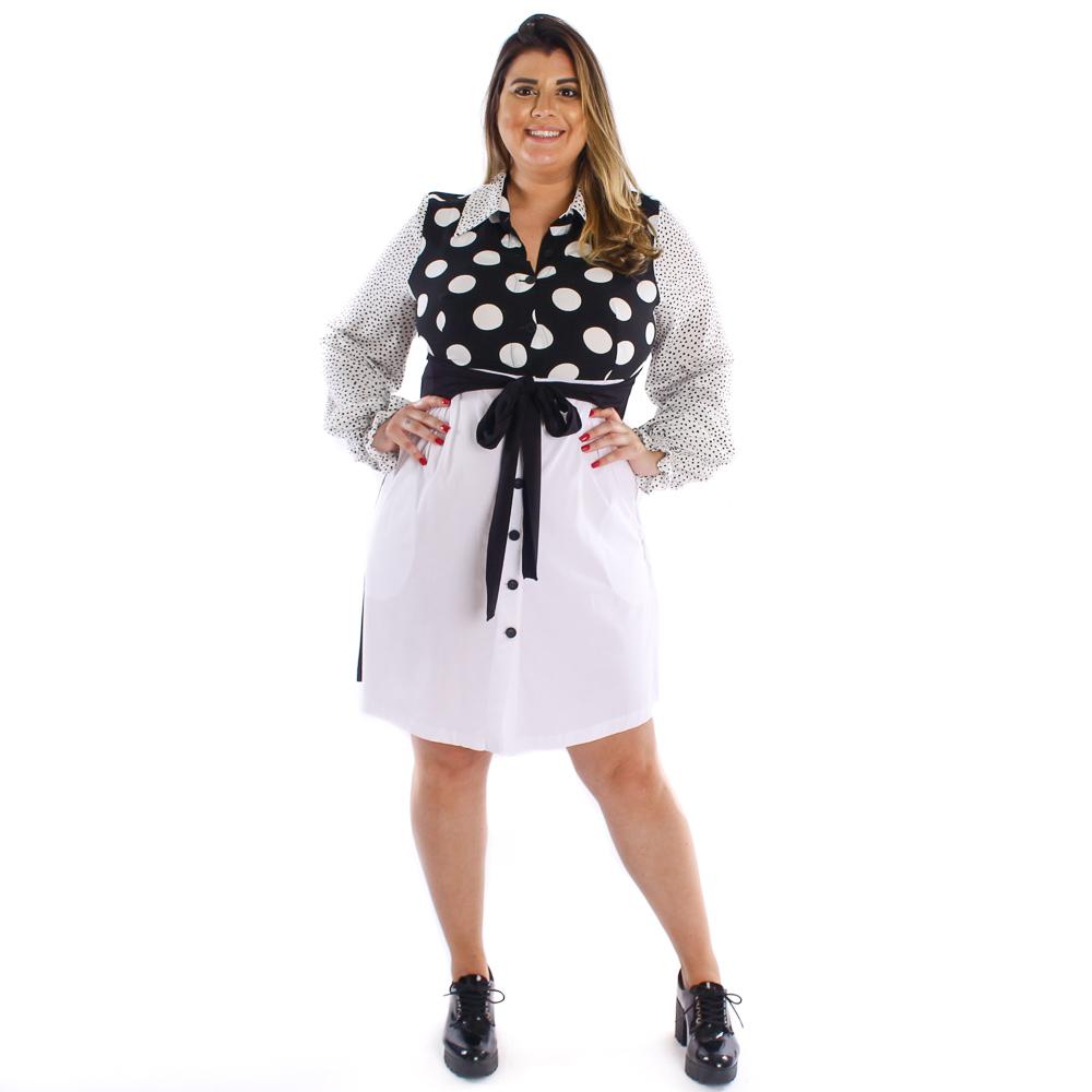 Vestido chemise mix de poá