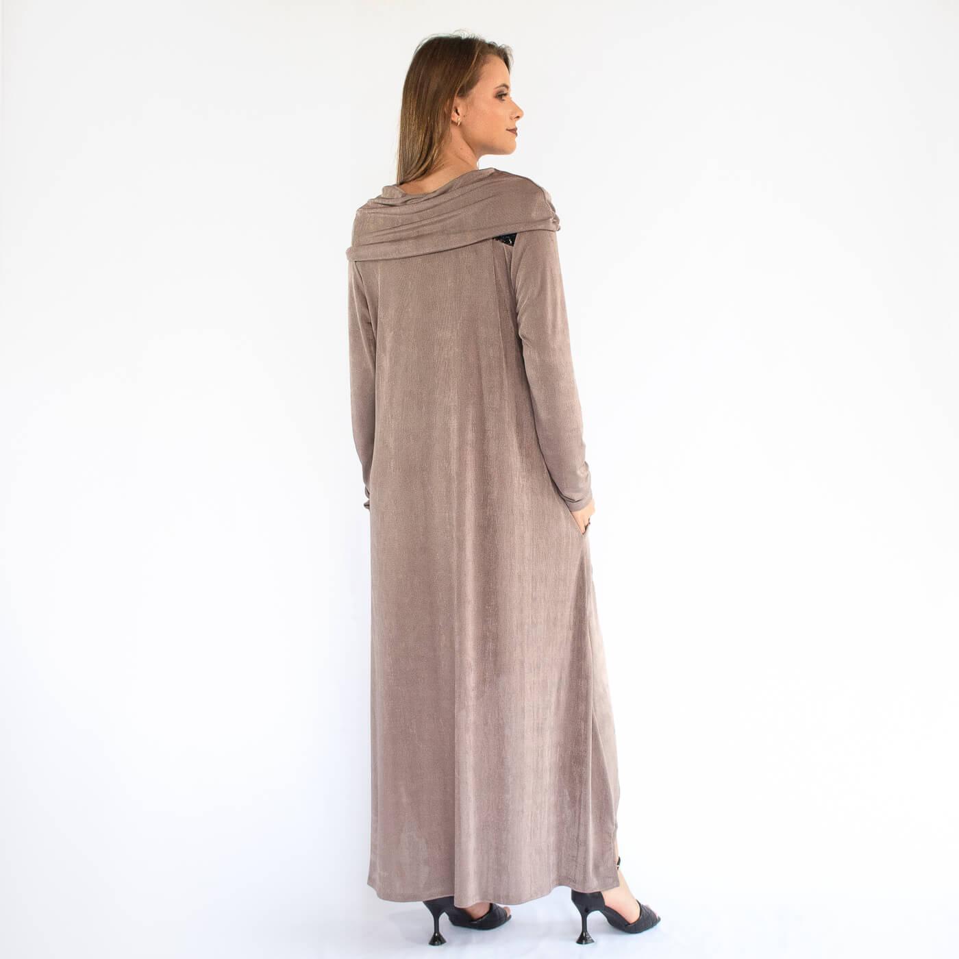 Vestido curto manga longa Lika com detalhes em croco