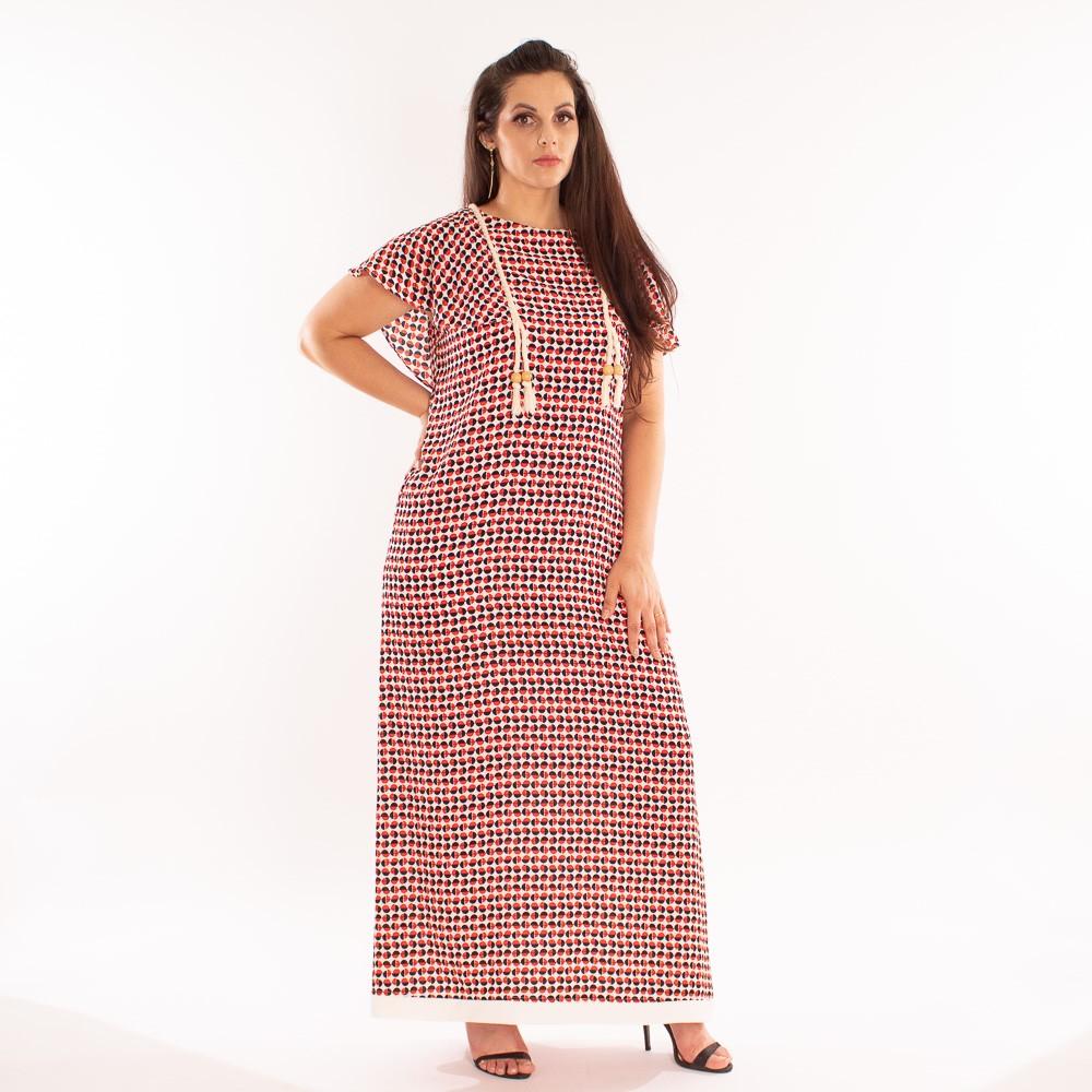 Vestido longo com detalhes em cordões