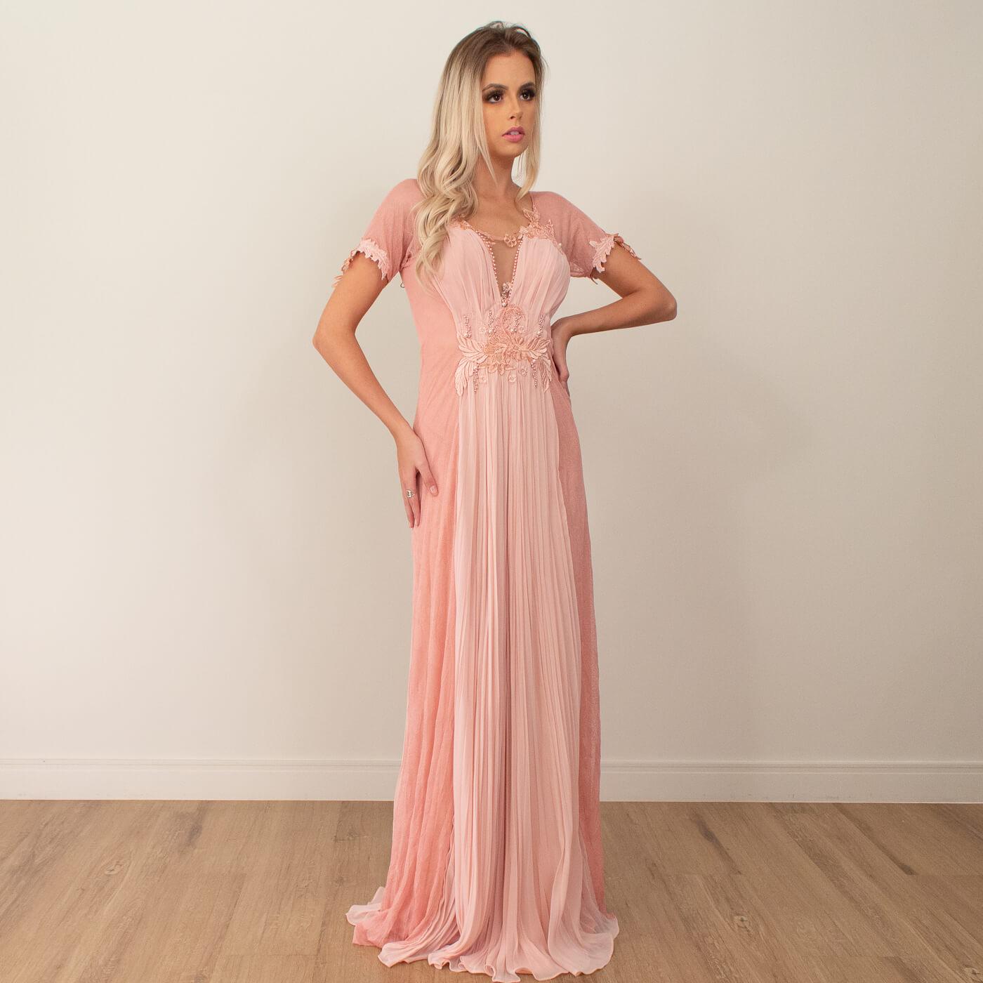 Vestido longo Lika com detalhes em bordados