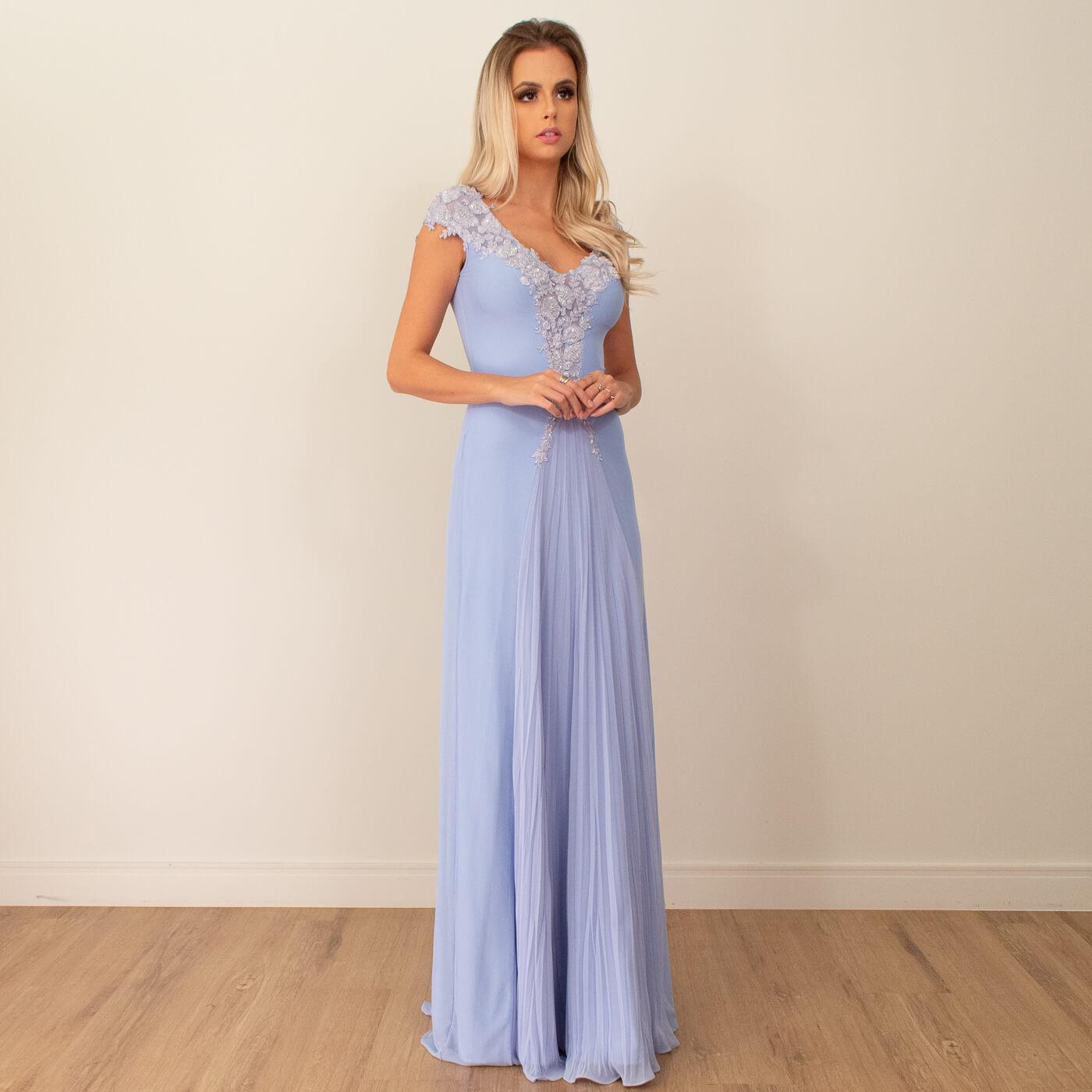 Vestido longo Lika com detalhes em bordados e pedrarias