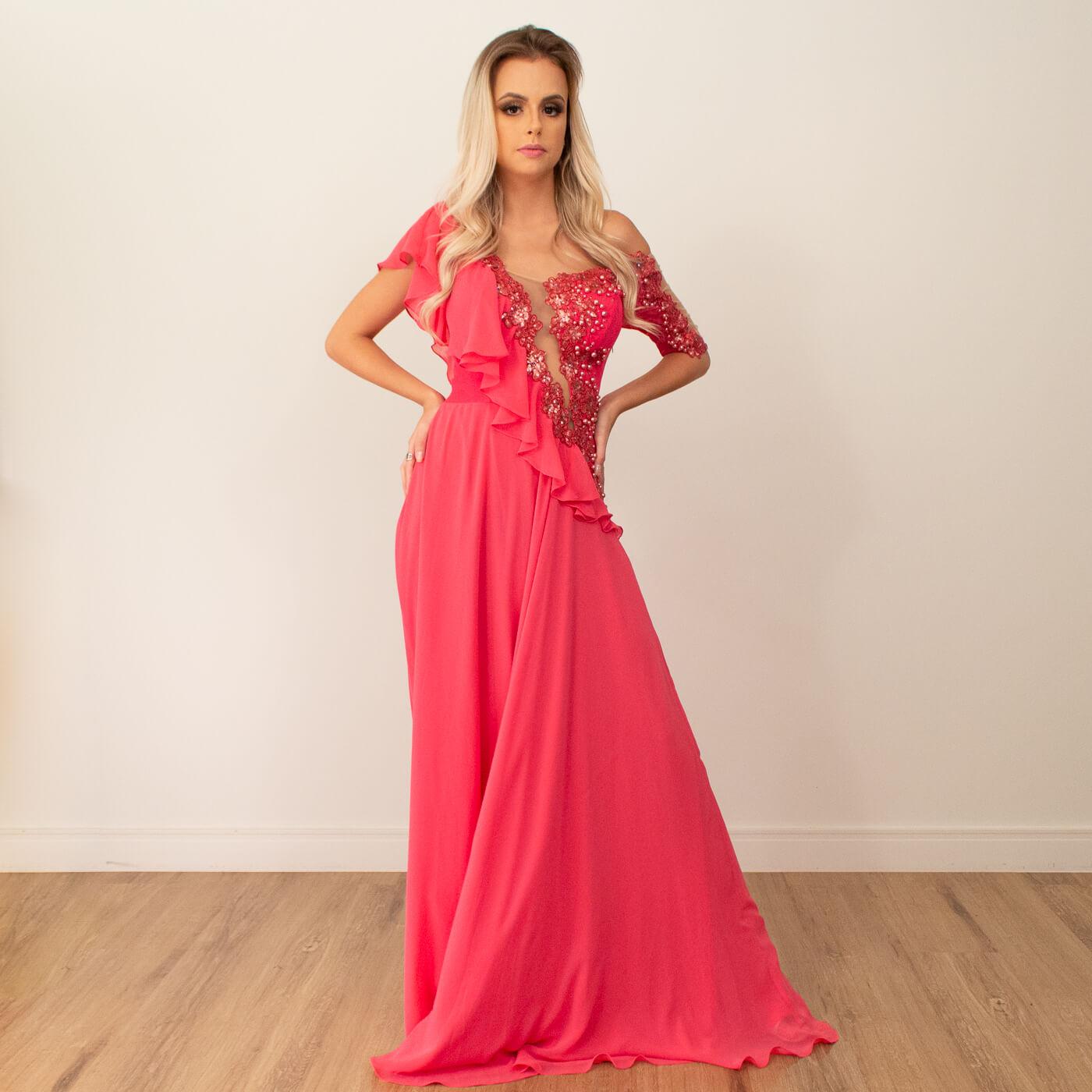 Vestido longo Lika com detalhes em pedrarias e babados