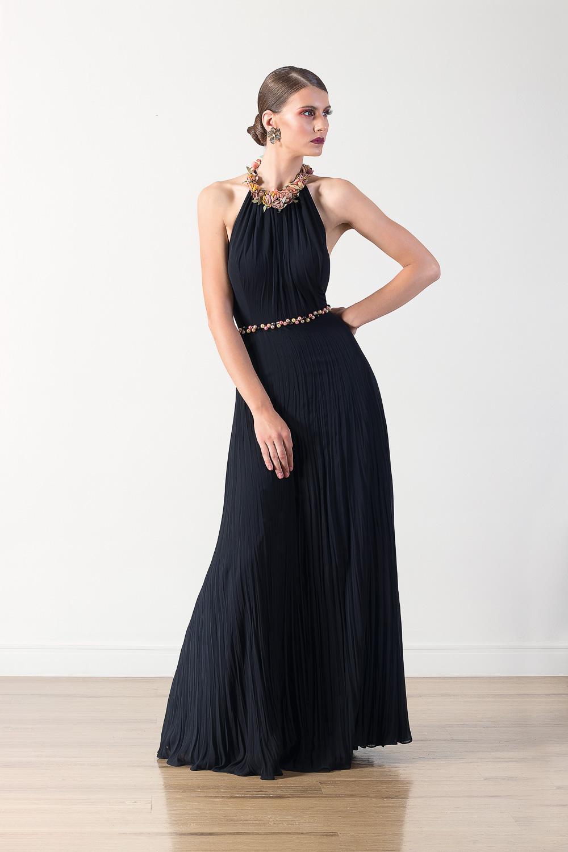 Vestido longo Lika frente única com detalhes em aplicações e pedrarias