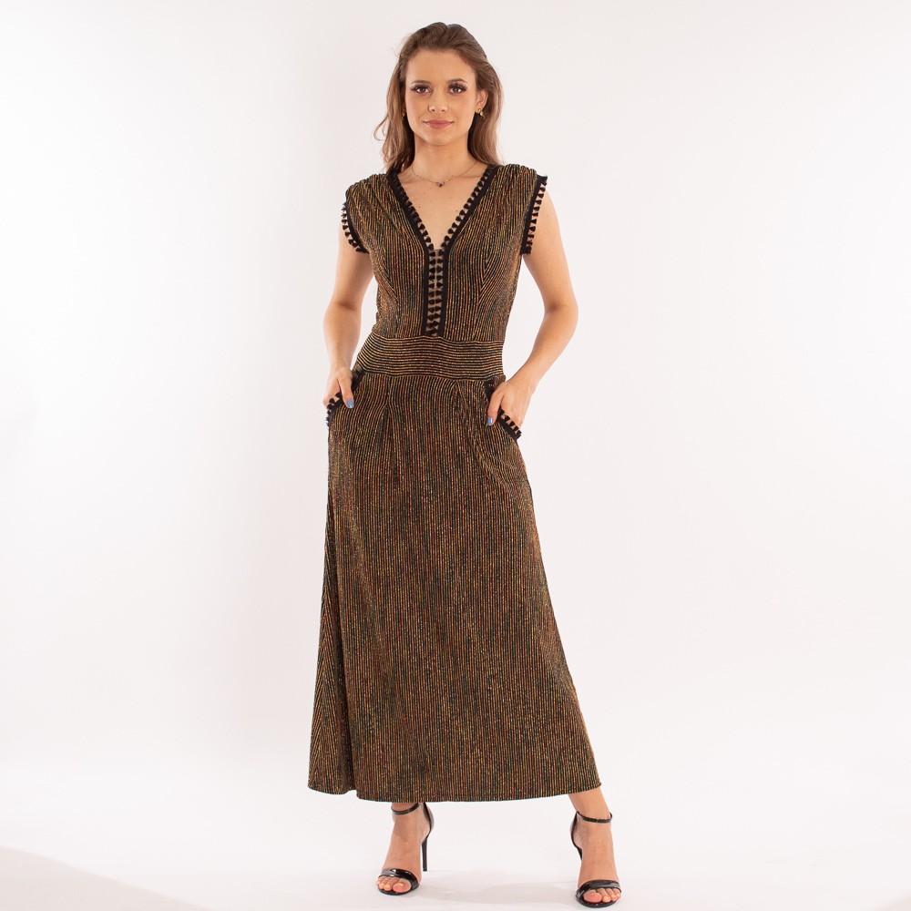 Vestido longo Lurex com bolsos e detalhes