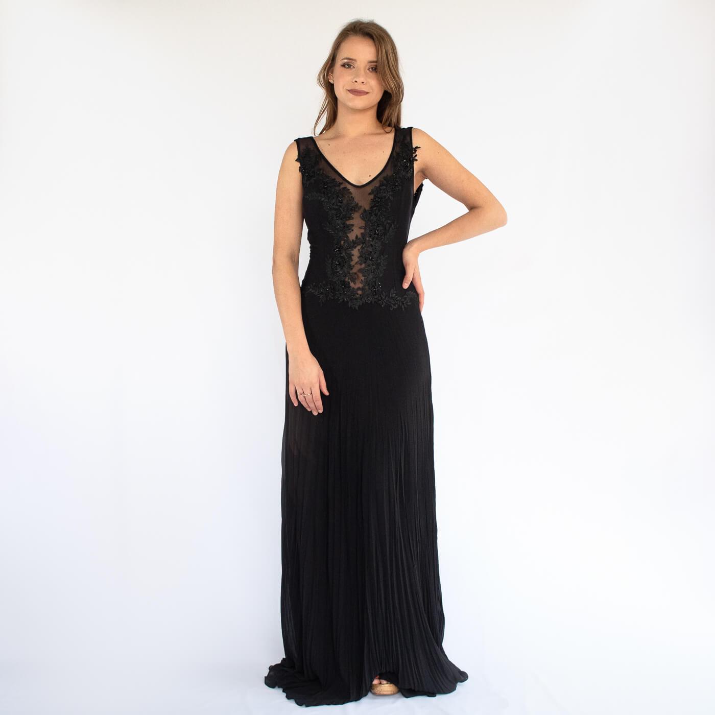 Vestido longo plissado Lika com detalhes em bordados e pedrarias