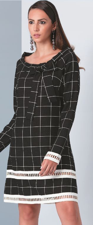 Vestido manga longa xadrez