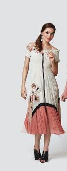Vestido midi com zíper frontal e detalhes em aplicações