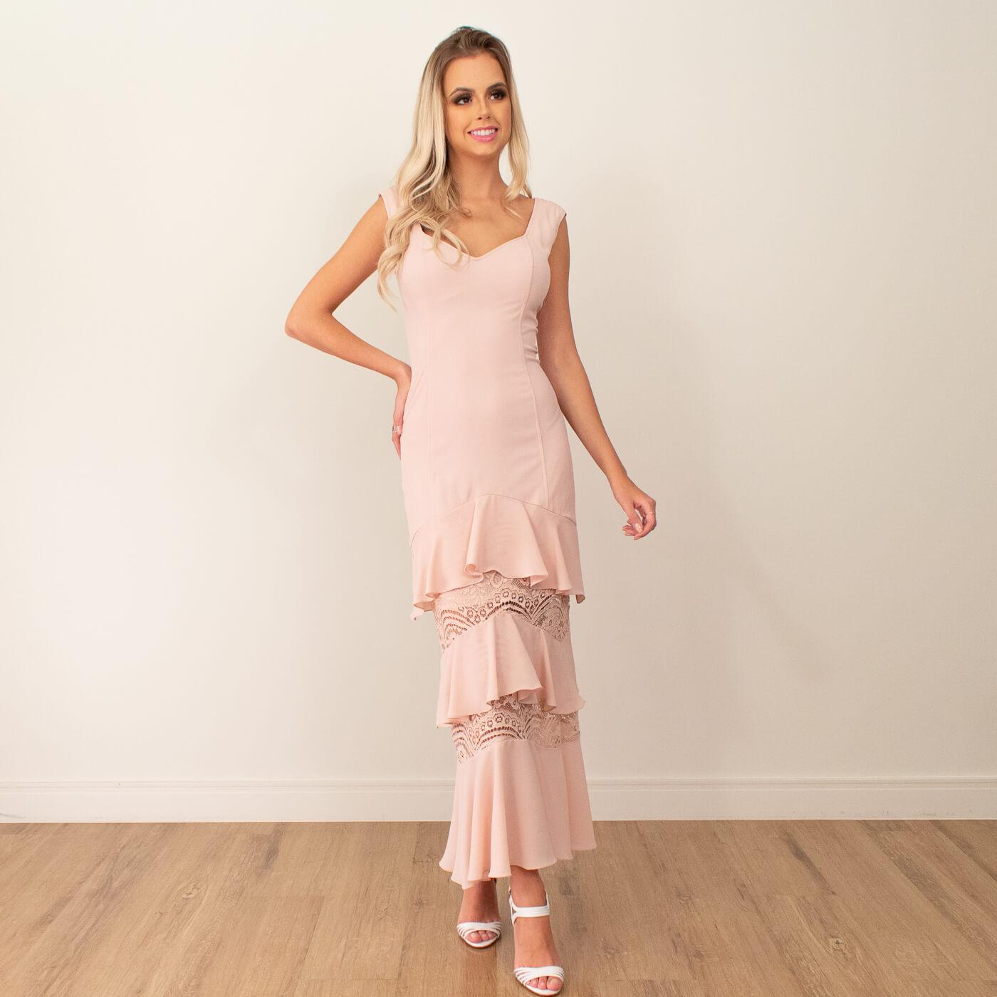 Vestido midi Lika com detalhes em babados e renda