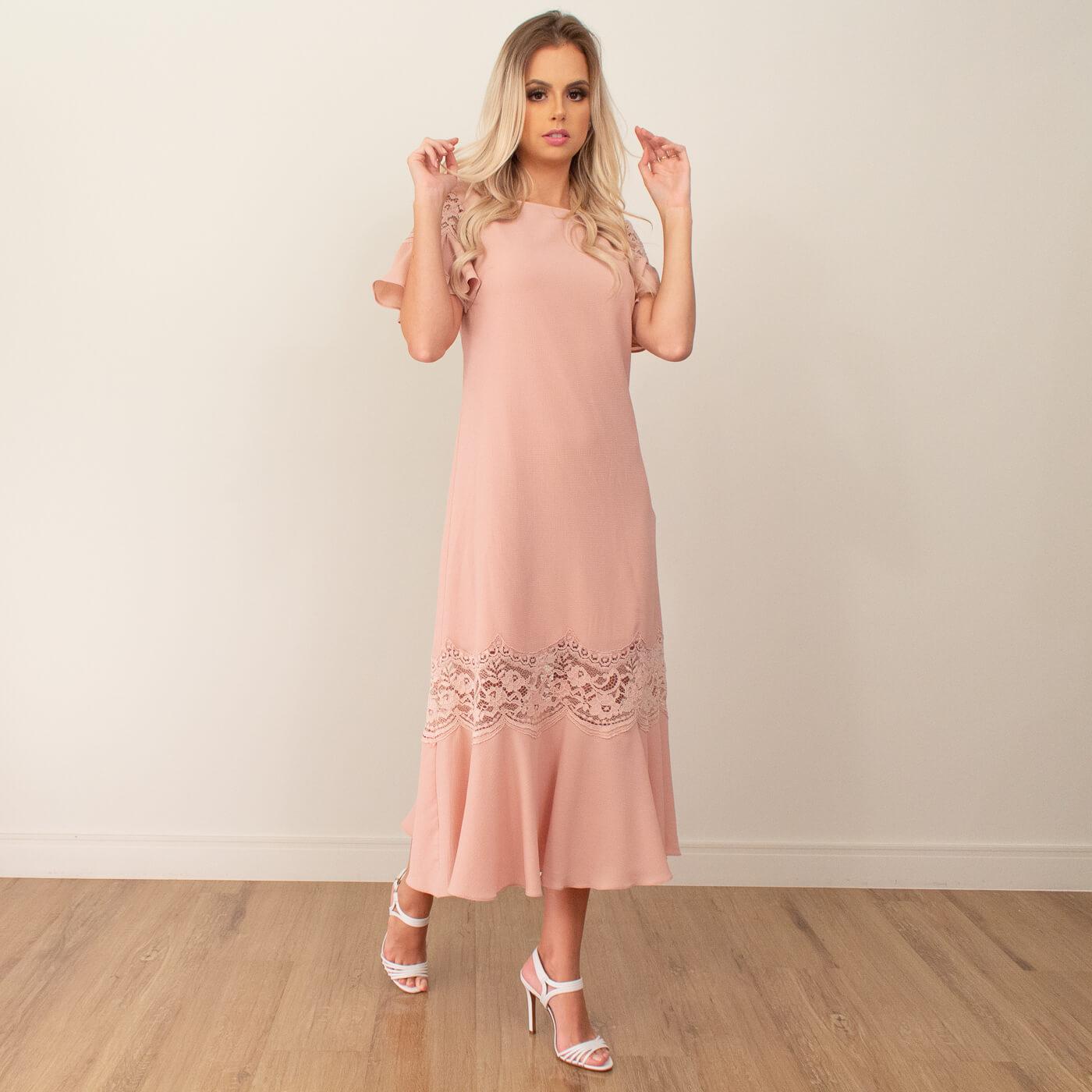 Vestido midi Lika com detalhes em renda e babados