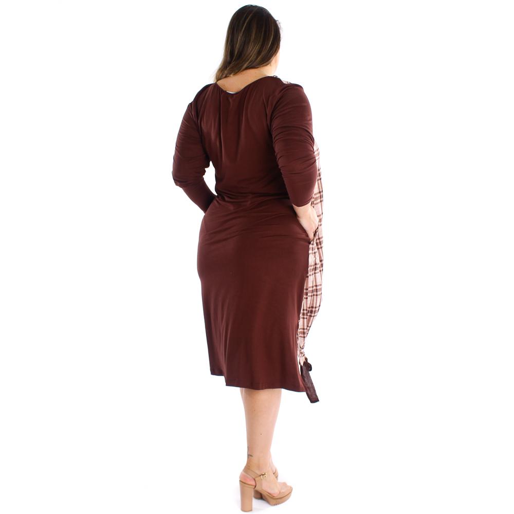 Vestido midi manga longa com detalhes em amarração