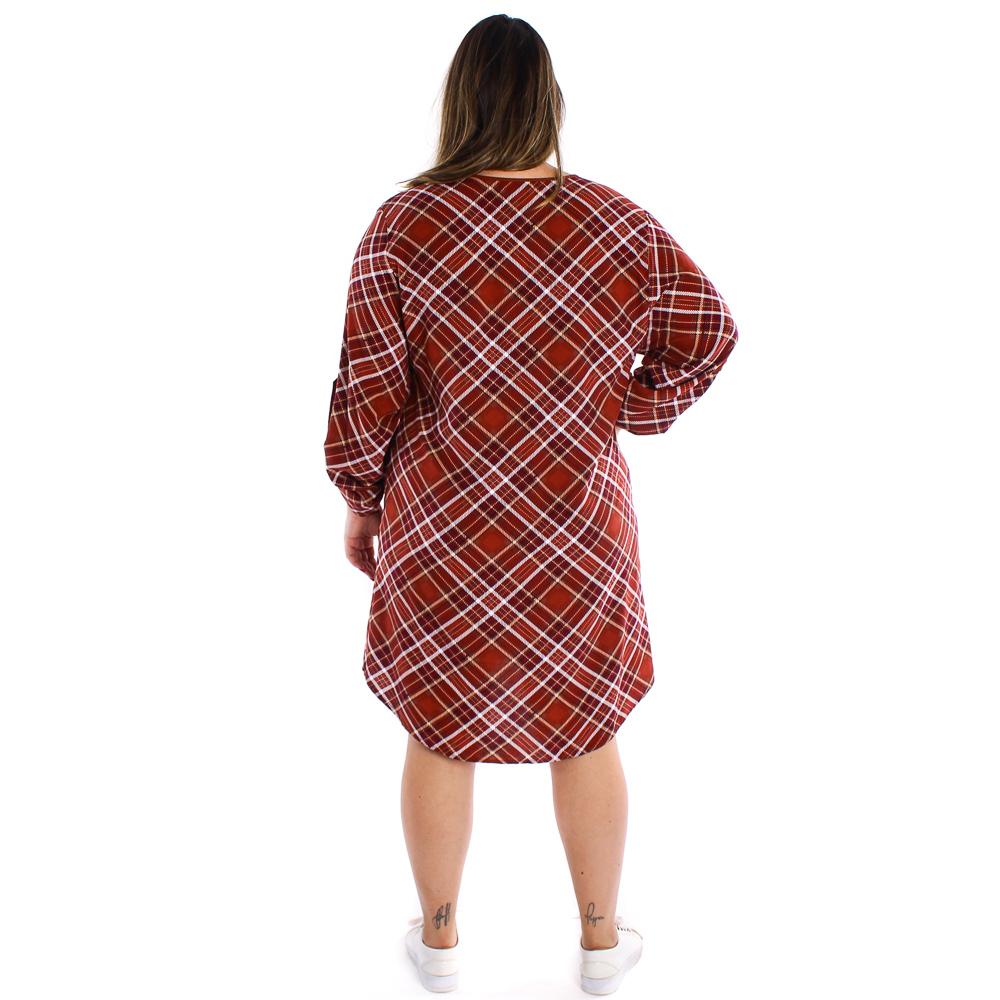 Vestido xadrez com bolso