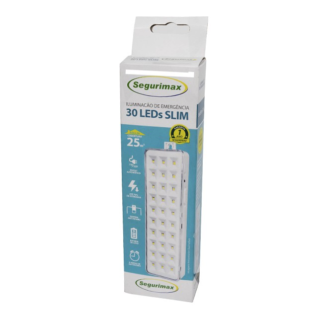 LUMINARIA EMERGENCIA 30 LED - BIVOLT - SEGURIMAX