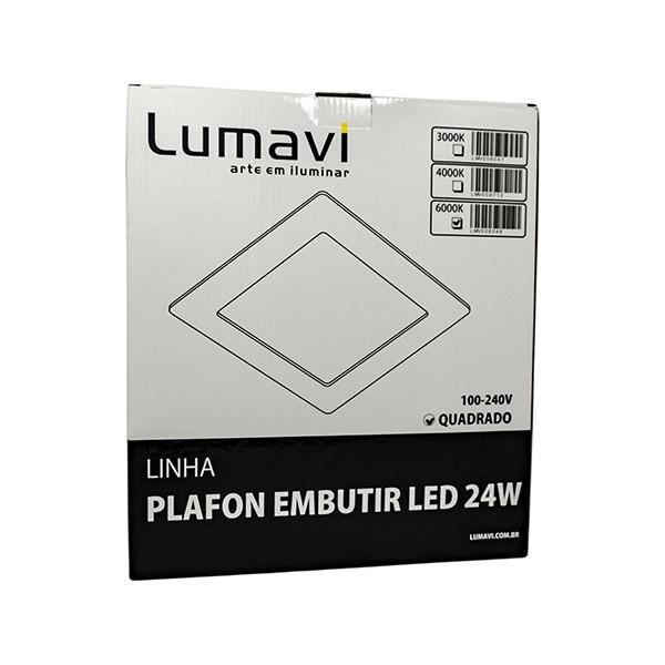PAINEL LED EMBUTIR QUADR 24W BIV EQF 6500K LUMAVI