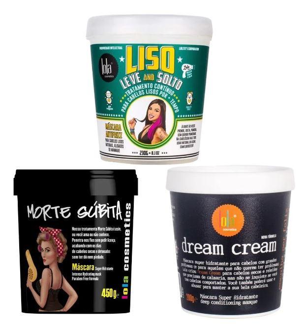 3 Máscaras Morte Súbita/liso Leve And Solto/dream Cream Lola