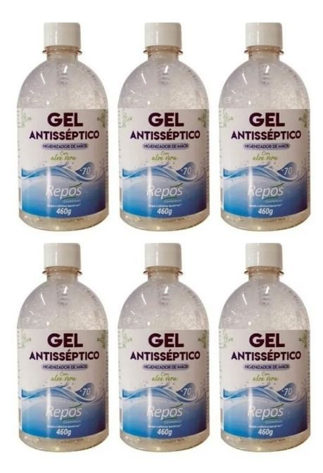 6 Álcool Gel 70 Antisséptico Higienizante 460g S/ Válvula