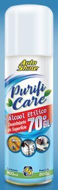 ÁLCOOL 70% AEROSOL PURIFI CARE 300ML - AUTOSHINE