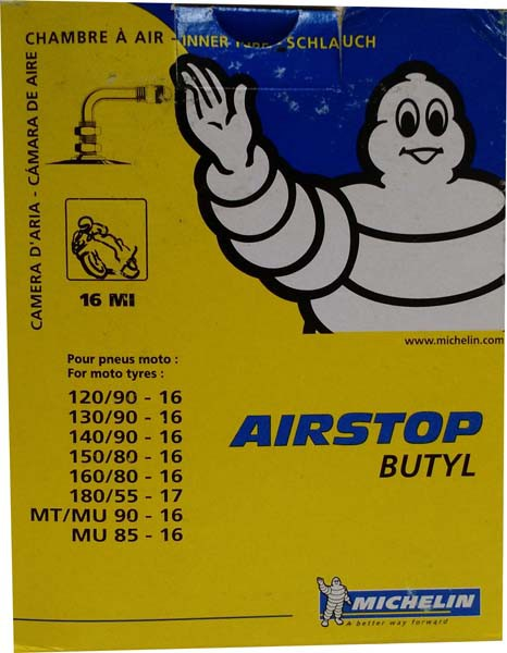 Câmara De Ar Michelin Aro 16 Mi 90º (Custom 130 90/ 140 90 E 150/80)