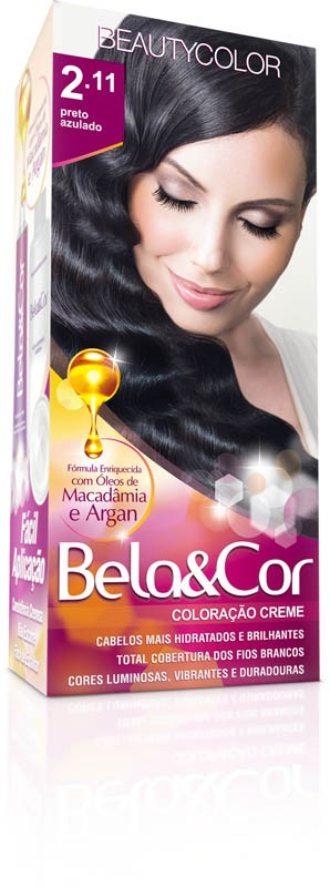 Coloração Permanente BELA&COR 110G 2.11 PRETO AZULADO