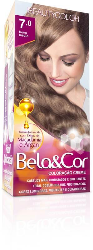 Coloração Permanente BELA&COR 110G 7.0 LOURO MEDIO