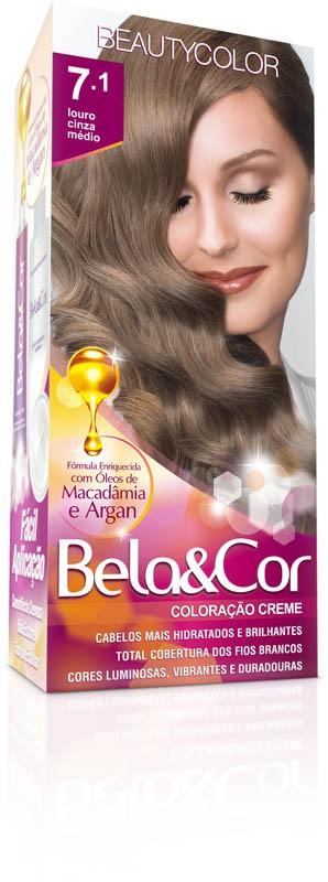 Coloração Permanente BELA&COR 110G 7.1 LOURO CINZA MED