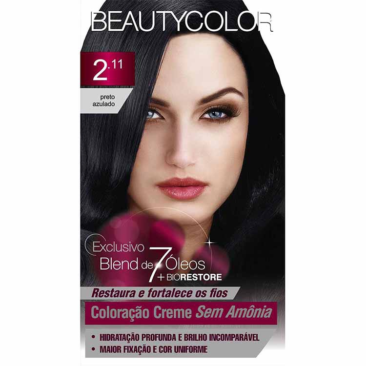COLORAÇÃO SEM AMONIA BEAUTY KIT 2.11 PRETO AZUL PURIS