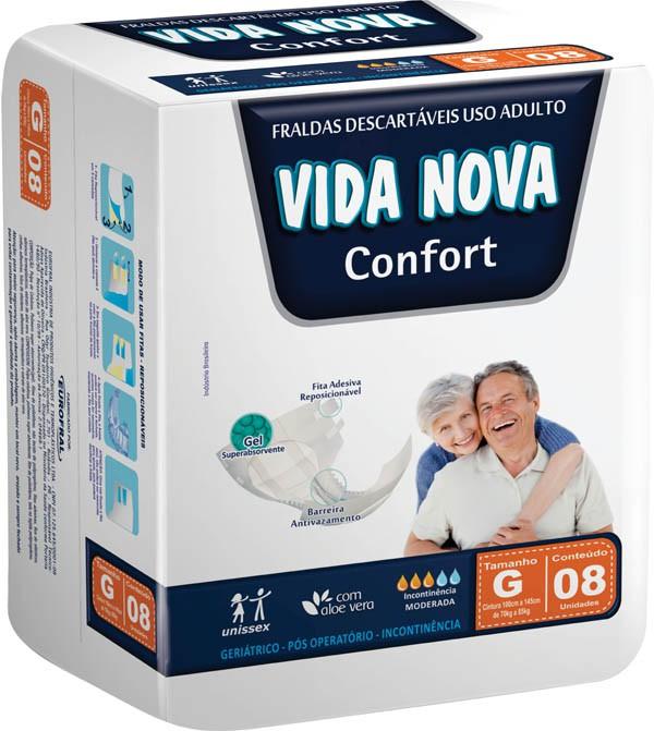 FRALDA PARA ADULTO GERIÁTRICA VIDA NOVA CONFORT GDE 8UN