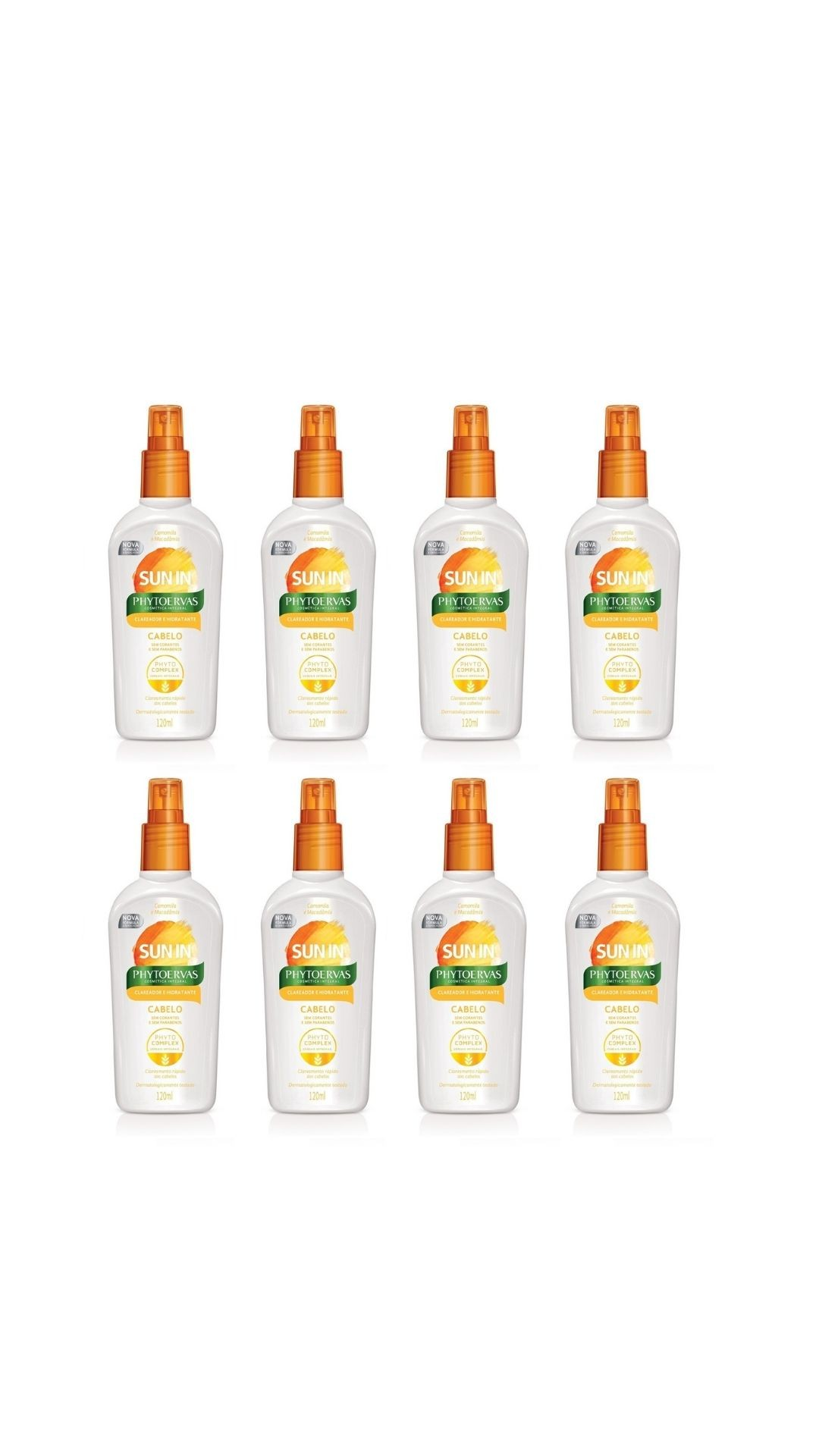 KIT 8 CLAREADOR DE CABELOS SPRAY SUN IN - PHYTOERVAS 120ML