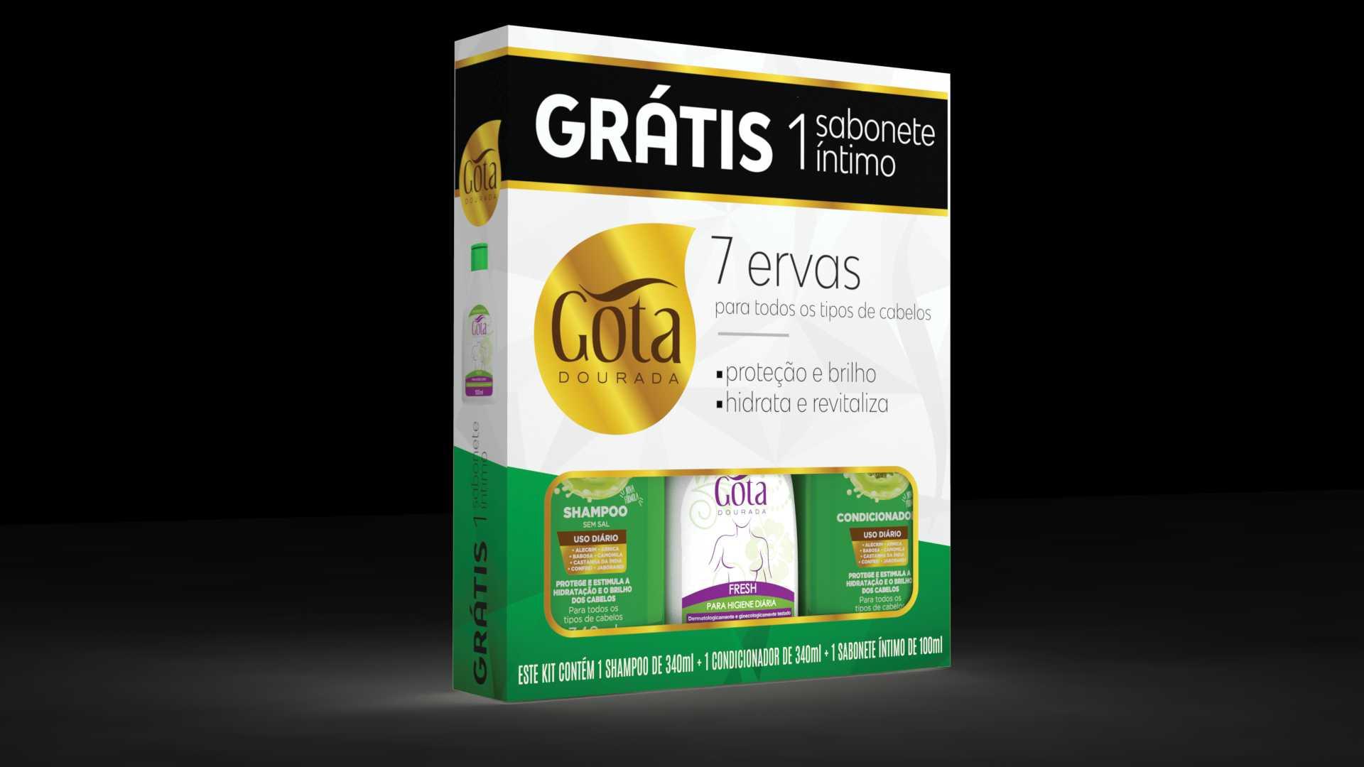 KIT SHAMPOO + CONDICIONADOR 7 ERVAS 340ML GRÁTIS 1 SABONETE LÍQUIDO ÍNTIMO 100ML - GOTA DOURADA