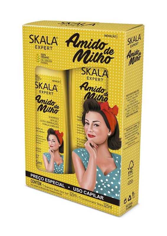 KIT SHAMPOO + CONDICIONADOR AMIDO DE MILHO 325ML - SKALA