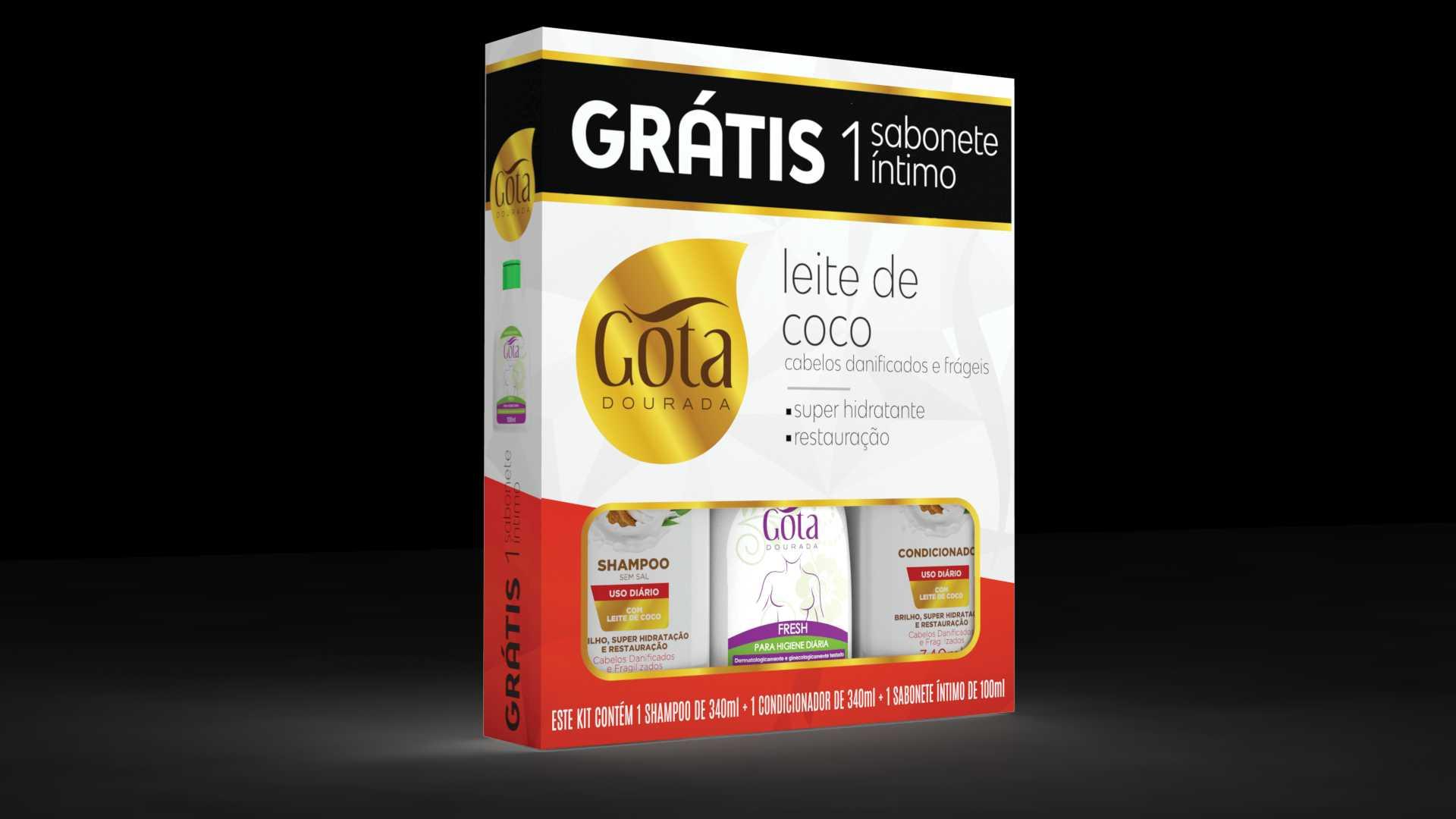 KIT SHAMPOO + CONDICIONADOR LEITE DE COCO 340ML GRÁTIS 1 SABONETE LÍQUIDO ÍNTIMO 100ML - GOTA DOURADA