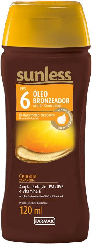 OLEO BRONZEADOR CENOURA SUNLESS FPS6 120ML