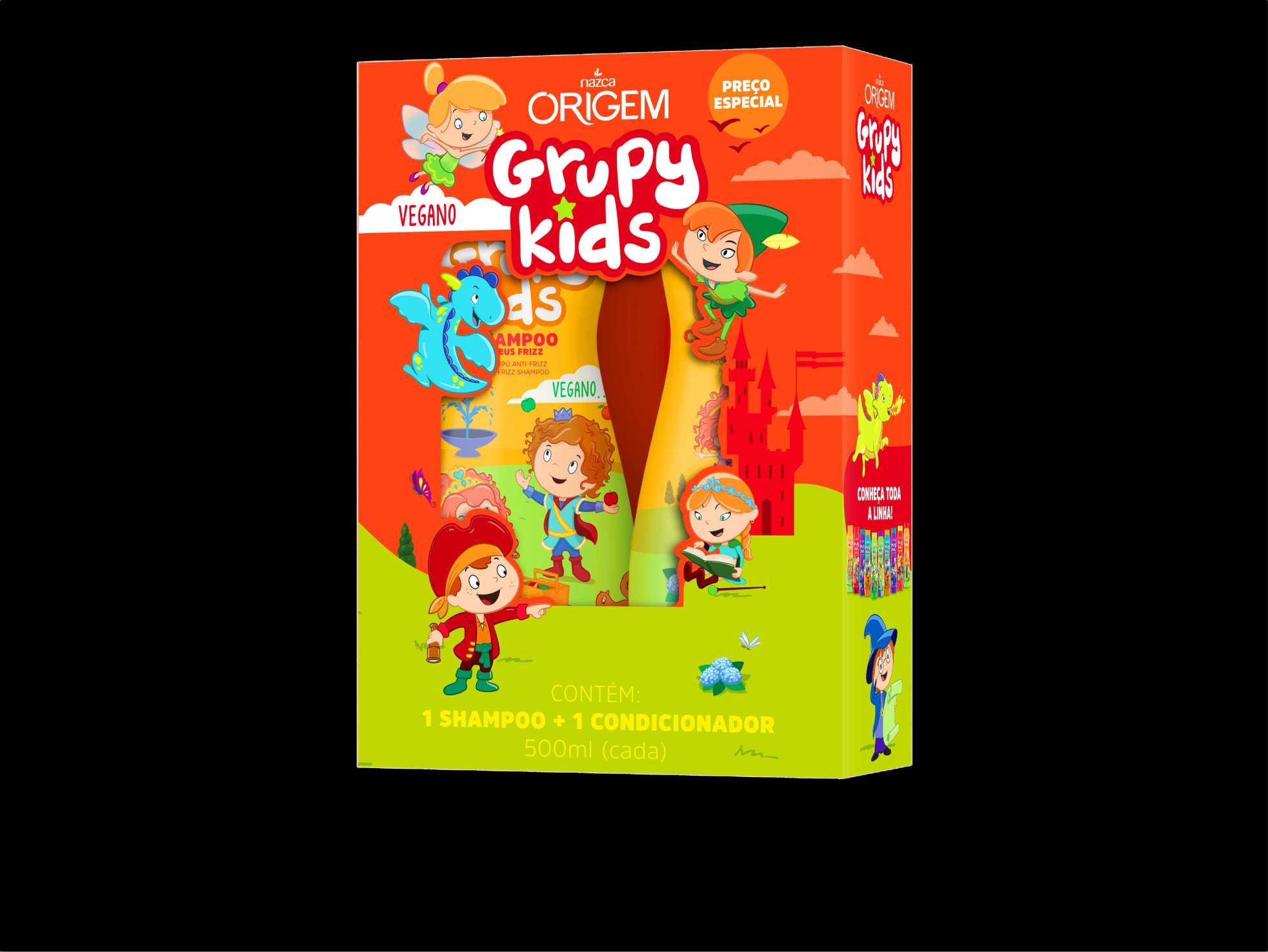 SHAMPOO + CONDICIONADOR INFANTIL GRUPY KIDS ADEUS FRIZZ 500ML - NAZCA
