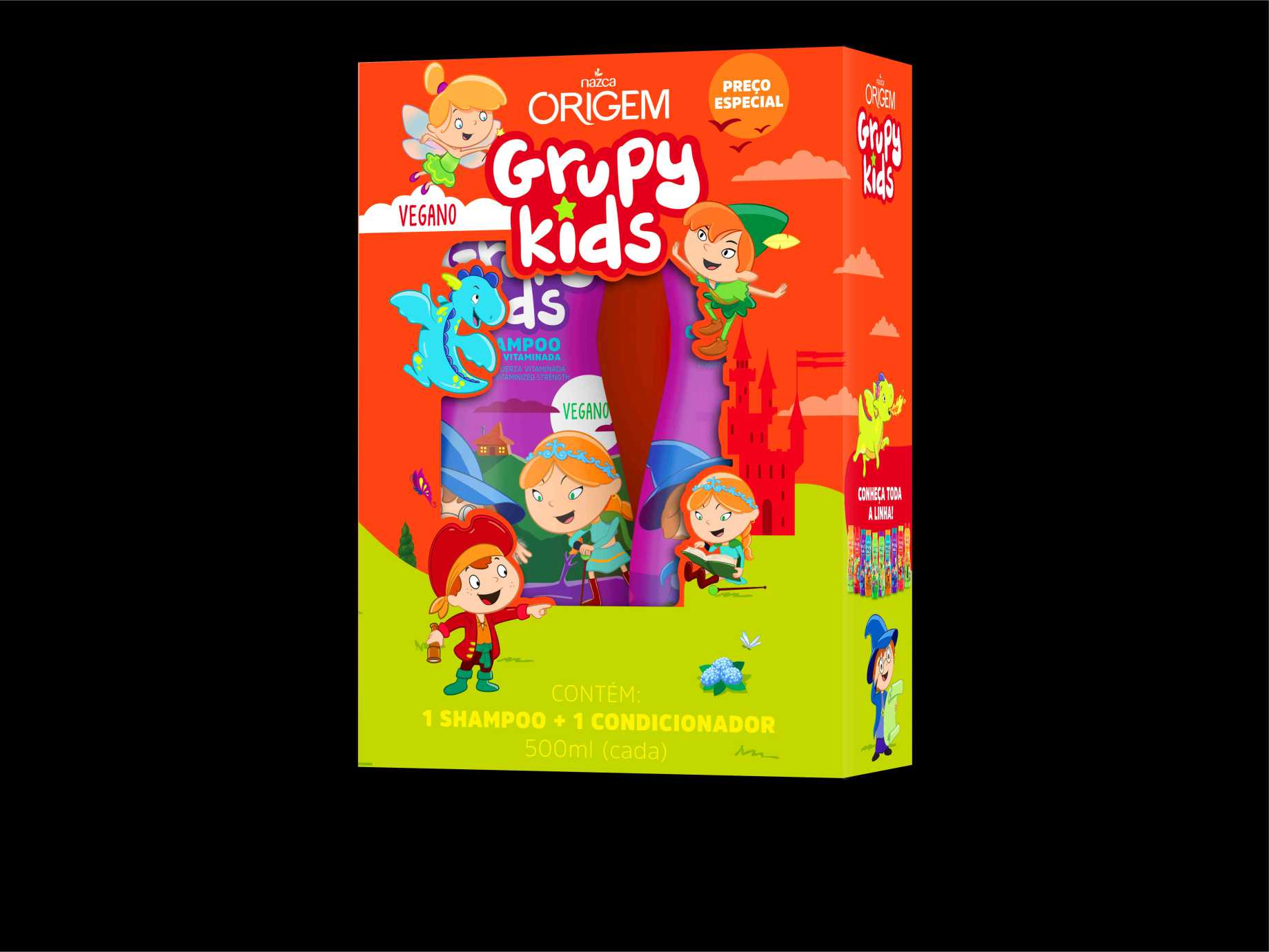 SHAMPOO+CONDICIONADOR INF GRUPY KIDS 500ML FORCA VITAMIN