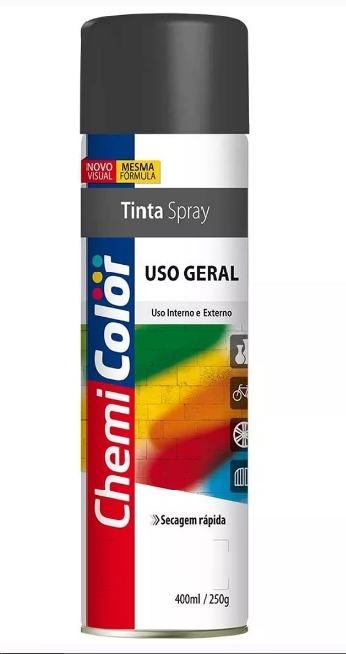 TINTA CHEMICOLOR USO GERAL PRETO BRILHANTE 400ML - BASTON