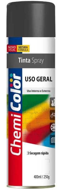 TINTA CHEMICOLOR USO GERAL PRETO FOSCO 400ML - BASTON
