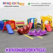 KIT BABY RECREIO | Cercadinho 4 módulos + Escorrega Baby + Banco Lápis + Gangorra Jacaré + Gangorra Dino + Play Ursinho + Multy Play