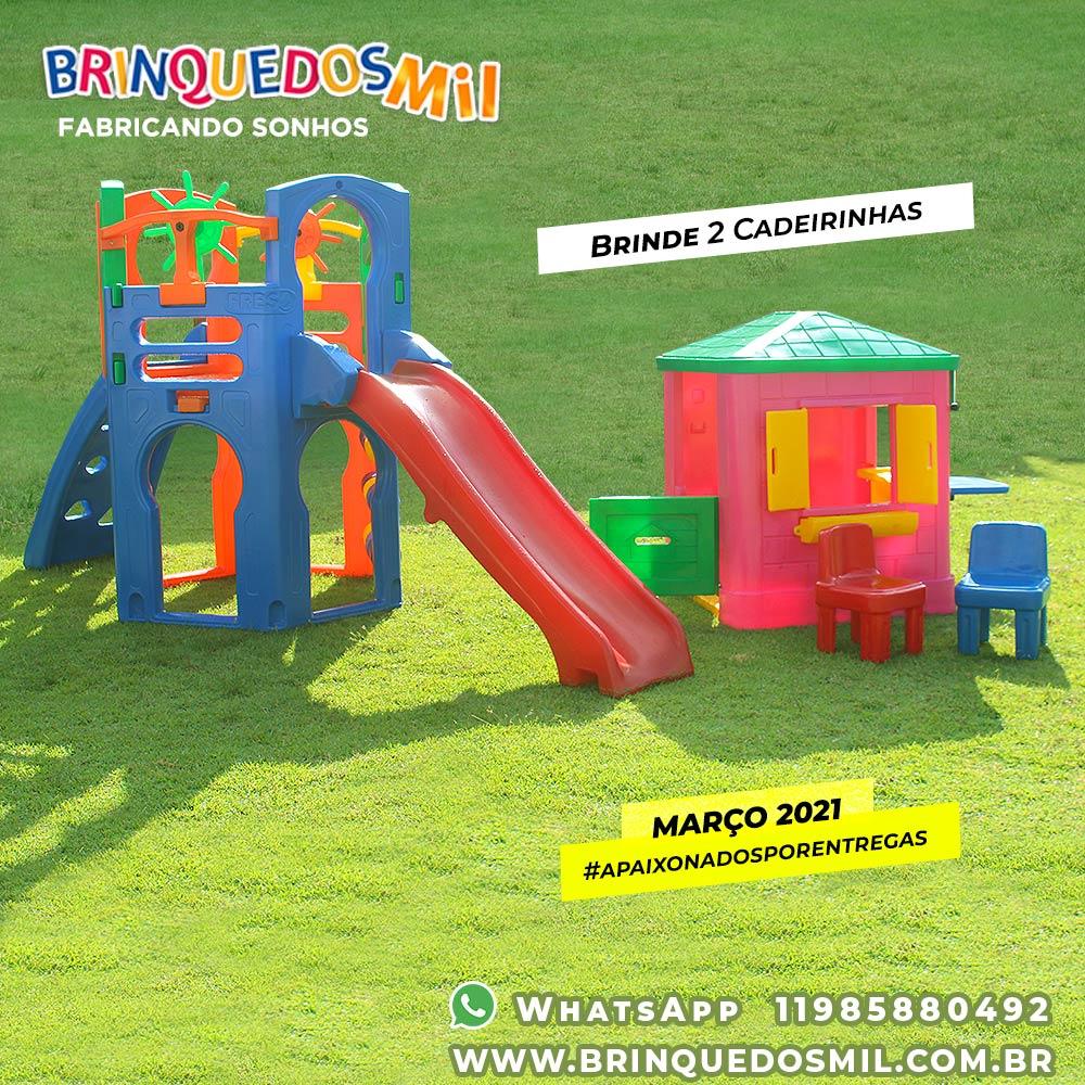 KIT Playground Premium Prata + Casinha com Floreira