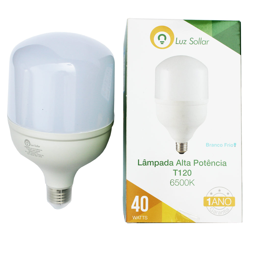 Lâmpada LED Bulbo 40W T120 - Branco Frio 6500K - Luz Sollar