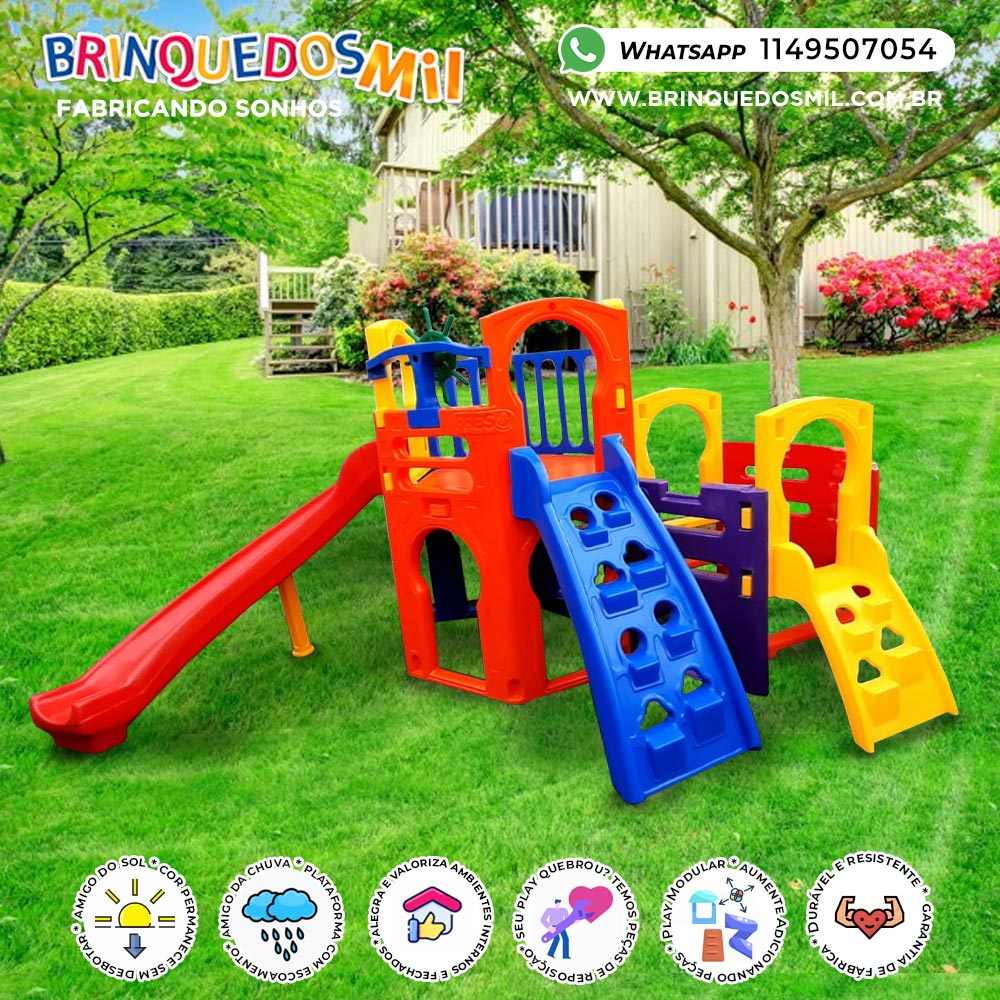 Playground Multiplay Petit + Play House + Kit Fly Duplo   4m50 x 3m75 x 1m85   2 a 12 anos