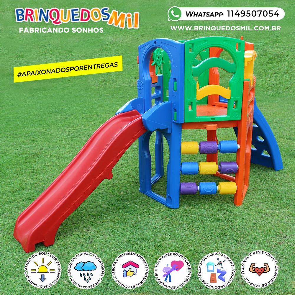 Playground Premium Prata | 3m70 x 1m50 x 1m85 | 1 a 12 anos