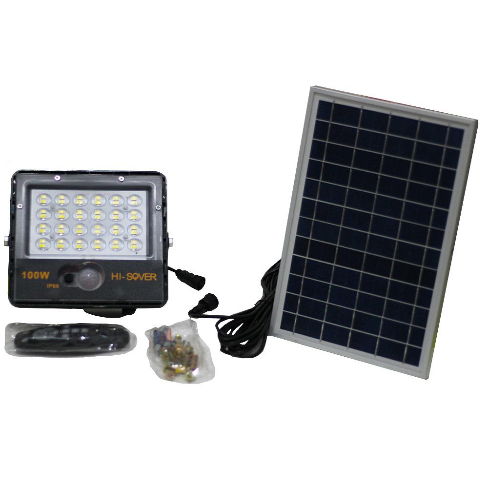 Refletor Led SMD 100W Branco Frio 6500K + Placa Solar 6W e Controle Remoto
