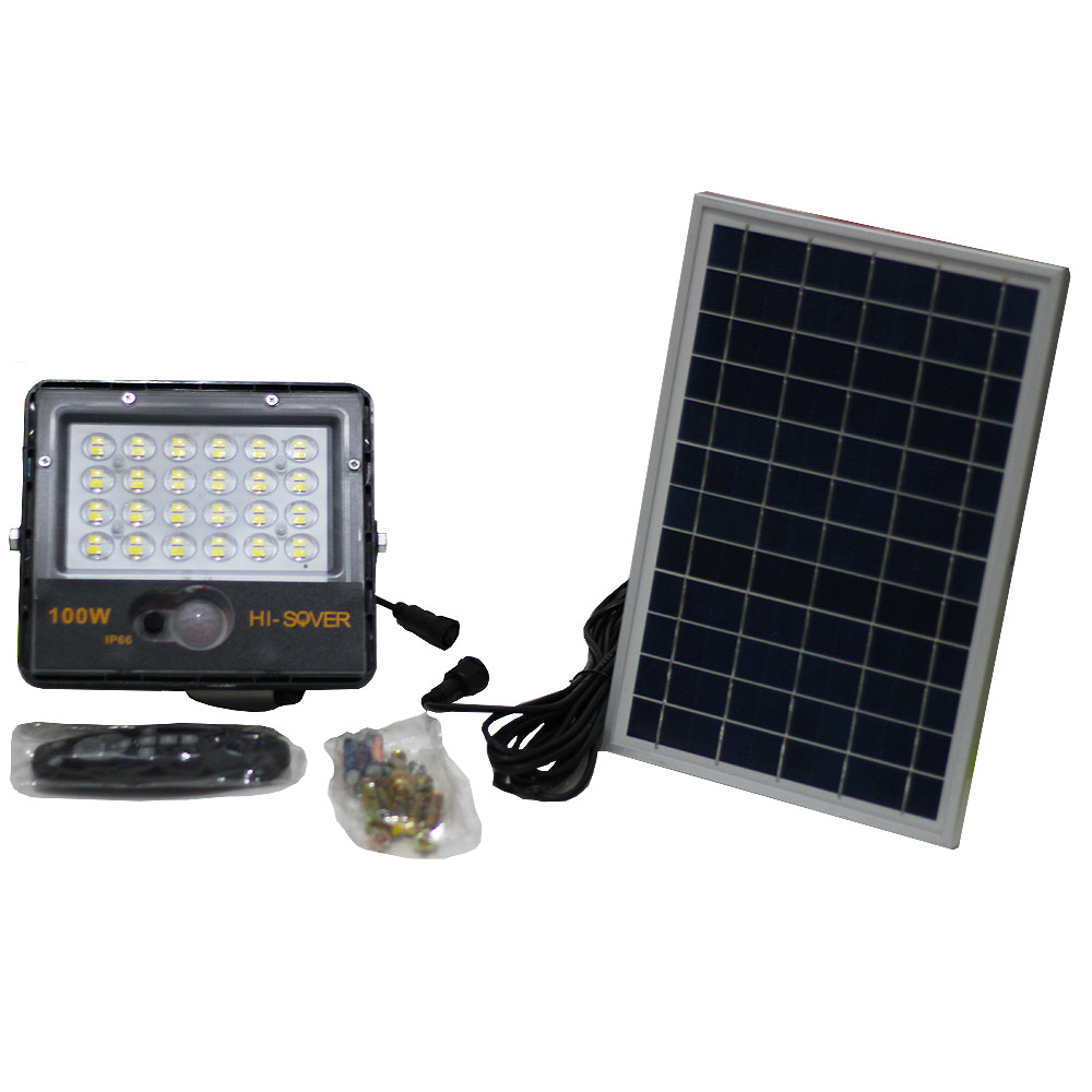 Refletor Led SMD  150W Branco Frio 6500K + Placa Solar 6W e controle Remoto
