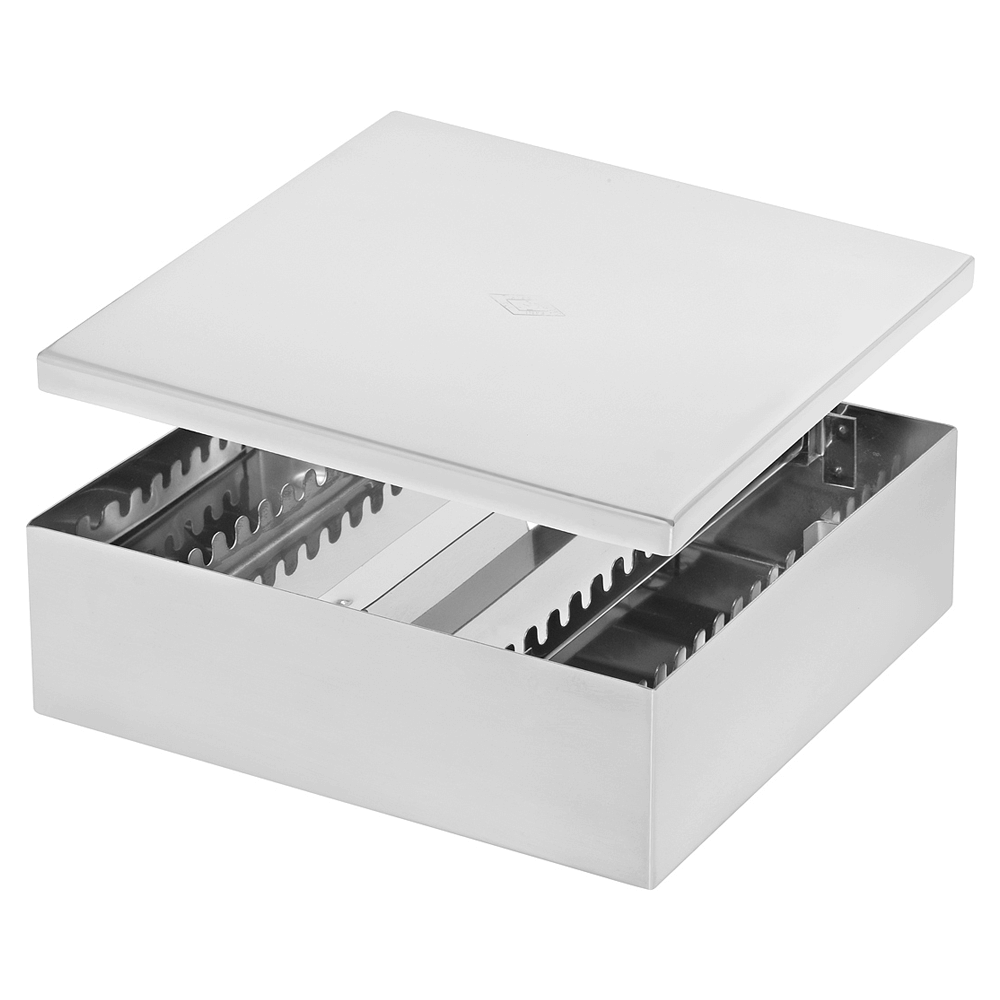 Estojo / Caixa Inóx Lisa Pério para 30 instrumentos 21 x 18,5 x 6,5 cm