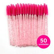 Escovinhas para cílios descartáveis pacote Rosa com glitter com 50un